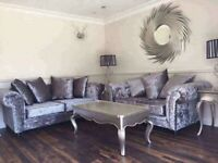 New 3 2 Silver Grey Crushed Velvet Sofas Free Delivery