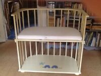 Baby co-sleeping cot with new mattress