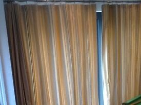 Pair of curtains - large lined quality material - john Lewis - yellow and grey