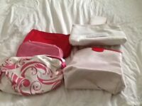 Never used 5 Clarins make up/ toiletry bags multi coloured /size