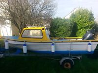 14ft dijon, 10hp yamaha outboard and trailer