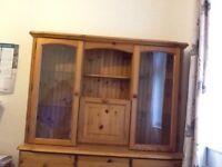 Pine dresser draws glass display cabinet and lights