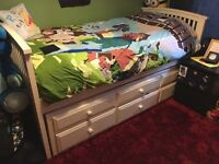 Wooden Single Bed With Guest Bed and Drawers