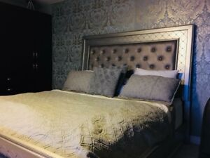 King size bed and box spring and mattress for sale