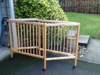 CHILD'S WOODEN FOLDING COT AND MATTRESS - ROBUST AND GOOD VALUE