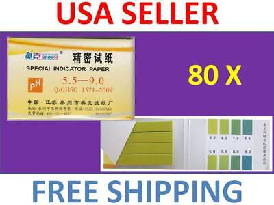 1 Pack / 80 strips of pH 5.5-9.0 Special Indicator Paper test Lab Water (Ph Indicator Lab)