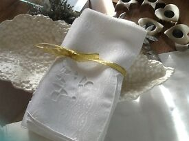 Lovely Crisp White Cotton Napkins with cutout design