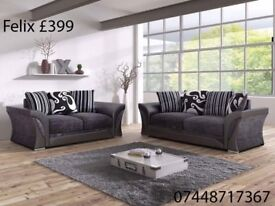 SPRING SALE ON 3+2 AND CORNER FABRIC SOFAS.. AVAILABLE IN FELIX AND DINO!!!
