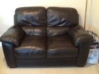 2 two seater settees , chocolate brown leather
