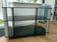 Glass TV stand black 3 tier