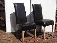 2 x DARK BROWN FAUX LEATHER DINING/ HALL CHAIRS - Different styles!
