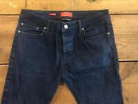 Men's Topman Stretch Skinny Fit Dark Blue Jeans UK 34R