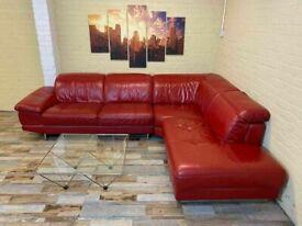 Passionate Red Leather Corner Sofa