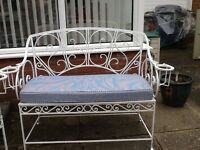 White Wrought Iron Garden Bench and Chair. Also with Cushions