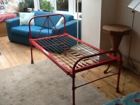Victorian child's metal frame bed with matress.