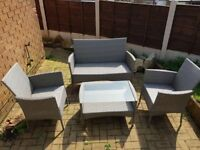Grey Rattan 4 Piece Patio Chair Set