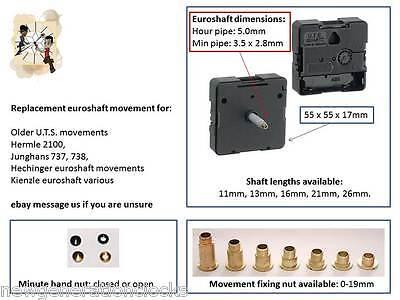 Quartz UTS Euroshaft clock movement, Hermle,Junghans, Hechinger, Kienzle, D.I.Y.