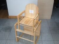 Solid wood 3 in 1 highchair/table & chair- excellent condition