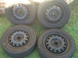 Four 14' X 5' Steel'rims with 175 65 14 tyres. 4 X 100 Stud patte Prestons Liverpool Area Preview