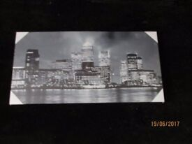 BLACK AND WHITE PICTURE OF SKYLINE AT NIGHT BRAND NEW 36 IN X 18 INCH WOULD LOOK GREAT IN ANY ROOM