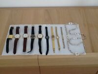 Job lot of ladies and gents watches. rolled gold bracelet, shell necklace
