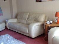 Leather sofa, armchair and stool