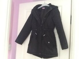 Girls Black F&F Showerproof Coat Age 9-10 yrs