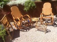 Pair of WICKER ROCKING CHAIRS with stylish curved laminated frames PLUS various bamboo accessories