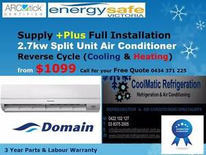 Split Unit Air Conditioner Supply & Installation $1099 Melbourne CBD Melbourne City Preview