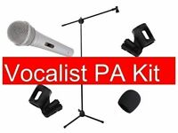 Dynamic Microphone Bundle Vocalist PA Kit Mic Stand Clips And Windshield