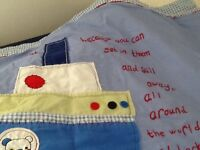 Cot quilt, pillow and covers.Also matching cotton quilt, lighthouse lamp and ornaments