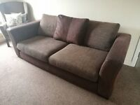 Brown Suede & Tweed Sofa / Couch