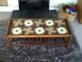 Tile topped coffee table with magazine rack