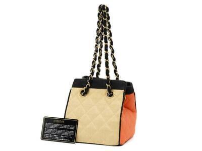 Chanel  Bicolor Raffia Straw CC Logo Quilted Chain Basket Bag 858721