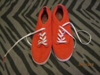 PINK CANVAS VANS WITH SILVER POLKA DOTS IN AS NEW CONDITION SIZE 5 IN AS NEW CONDITION