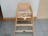 "Used for 2 weeks-immaculate condition solid wood ""CAFE"" Highchair with straps-cost £90-selling £30"