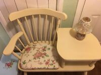 Shabby chic Pine Telephone seat .. painted in Annie Sloan cream