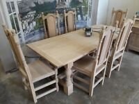 English Oak Refectory Table Set with 6 Oak High Back Chairs