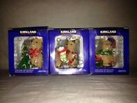 Porcelain Christmas Teddy Reindeer Tree Baubles / Ornaments Boxed