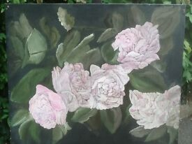 Hand paintings on canvas of Flowers.