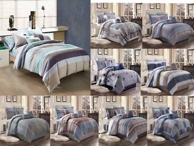3PC CONTEMPORARY DUVET COVER SET FOR COMFORTER BED STRIPED AND CHECKED COVERLET  Cotton Stripe Comforter Cover
