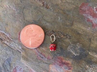 14KT Yellow Gold Enamel Lady Bug Pendant Charm Red TINY Baby Sized Mini...NEW](Yellow Lady Bug)
