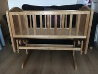 ** SOLD STC** Mothercare Gliding crib, Lovely Condition, Natural Wood