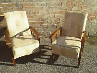 Stunning pair of vintage arts and craft reclining chairs