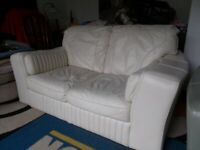 SOFT Italian LEATHER 2 seater in cream with large arms