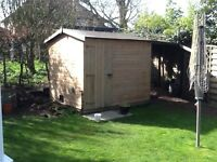 Garden shed. 6 x 8 ft with cat flap. Needs some repair to back panel. Quick sale required. £60 ono