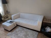IKEA Klippan white sofa and footstall