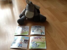 Dopey donkey with backpack containing four story books