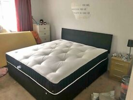 Best Offer Ever Single/Double/King Size Divan Bed Base with Headboard X Mattress (Optional)