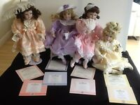Limited Edition Collection of 4 Porcelain Dolls
